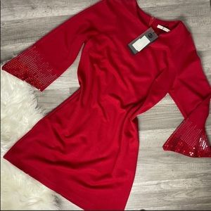 Red Knee Length 3/4 Sleeve Sequin Dress